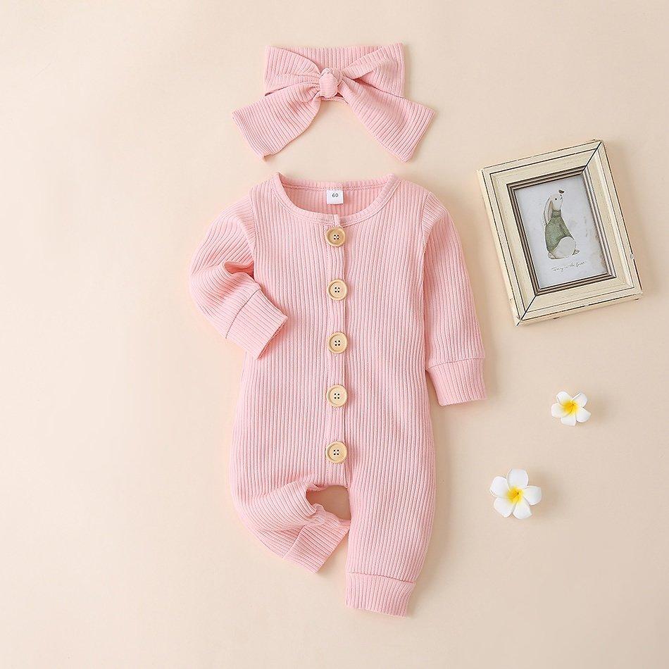 Baby Solid Jumpsuit with Headband Set