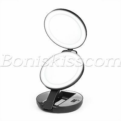 Portable Double Sided Makeup Mirror LED Lighting Magnification Compact Foldable