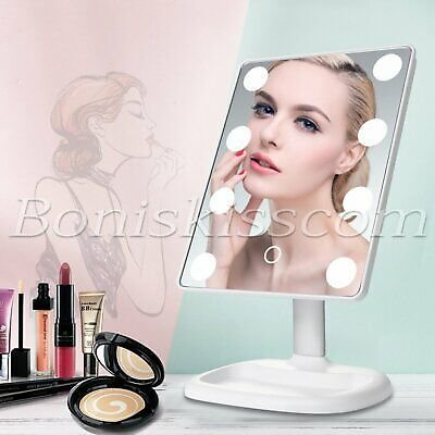 Vanity Makeup Mirror 16 LED Lamps 180° Rotation Touch Sensor Cosmetic Tabletop