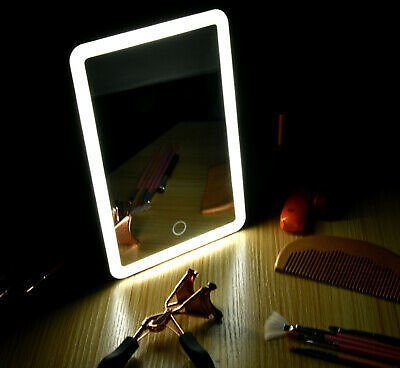 LED Touch Screen Makeup Mirror Tabletop Lighted Cosmetic Vanity 180 Rotate USB