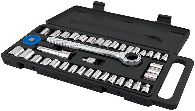 Great Neck 1/4 In. Drive Metric and SAE 6 Point Socket Wrench Set 40 Pc.