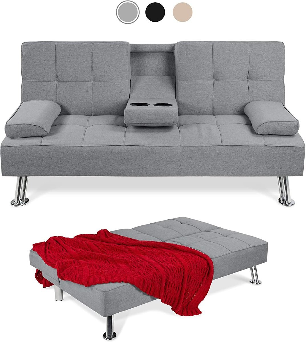 Linen Upholstered Modern Convertible Folding Futon Sofa Bed for Compact Living Space, Removable Armrests, Metal Legs