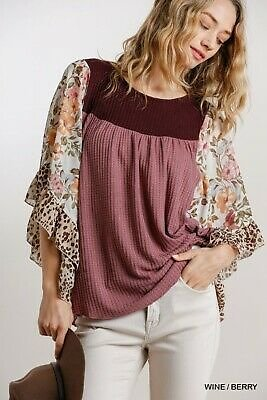 Umgee Floral Animal Print Butterfly Sleeve Waffle Knit Top Regular + Plus Size