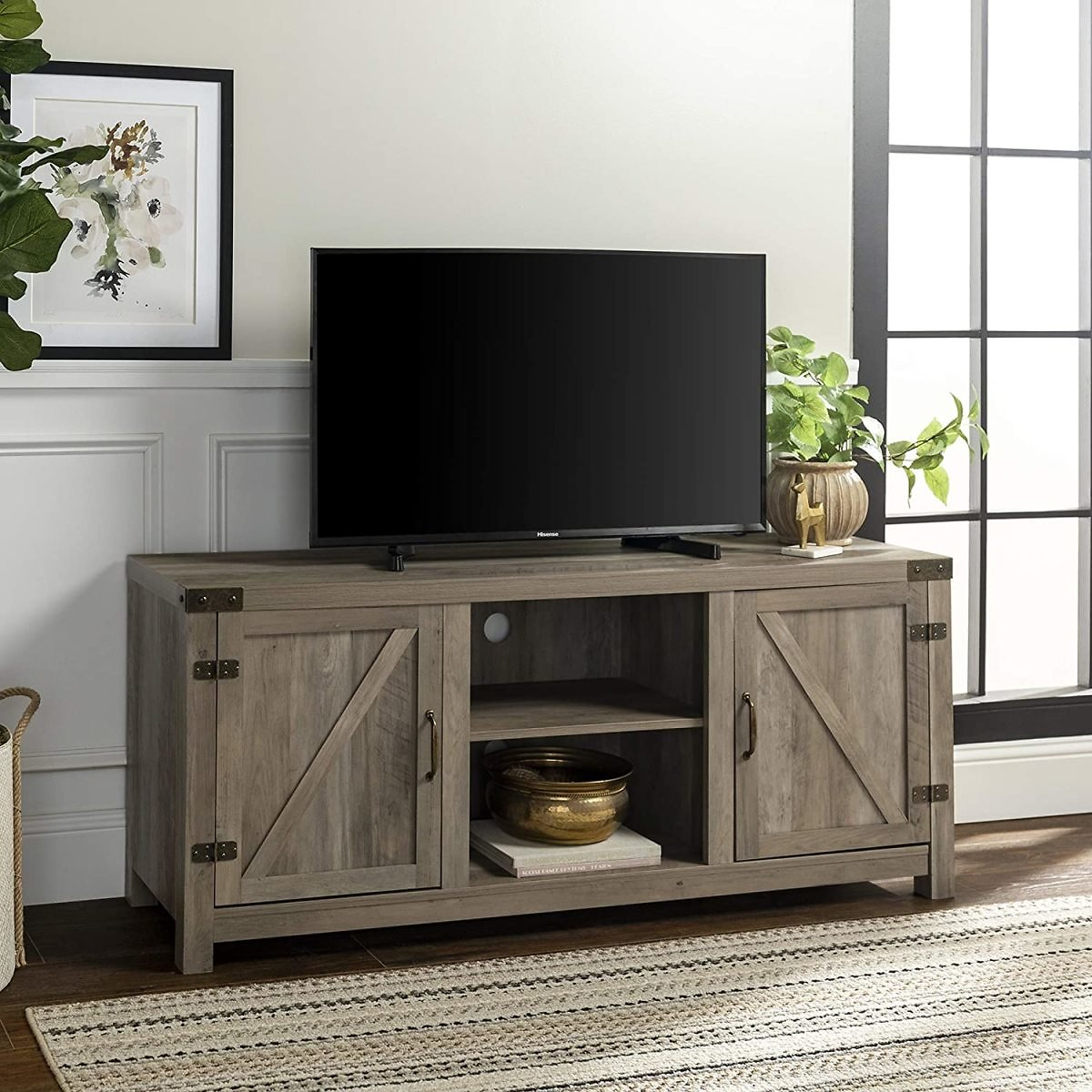 60% Off Walker Edison Furniture Company Farmhouse Barn Wood Universal Stand for TV's Up to 64