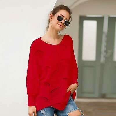 Pullover Casual Knit Shirt Sweater Loose Knitwear Womens Jumper Long Sleeve Tops