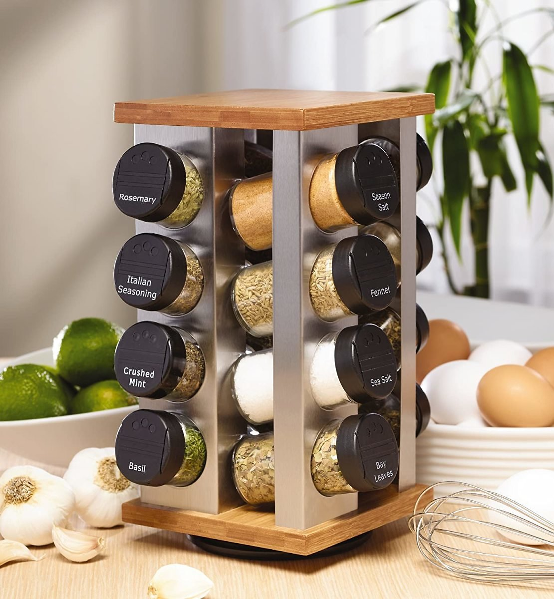 Kamenstein Warner 16-Jar Revolving Countertop Spice Rack Organizer with Free Spice Refills for 5 Years