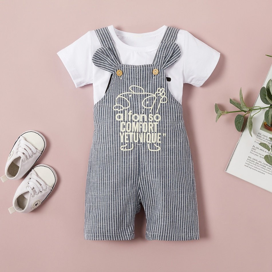Baby Casual Letter Print Top and Cartoon Letter Suspender Pants
