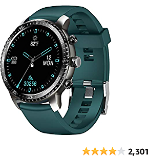 Tinwoo Smart Watch for Android/iOS Phones, Support Wireless Charging,Bluetooth Health Tracker with Heart Rate Monitor, Digital Smartwatch for Women Men, 5ATM Waterproof (TPU Band Green)