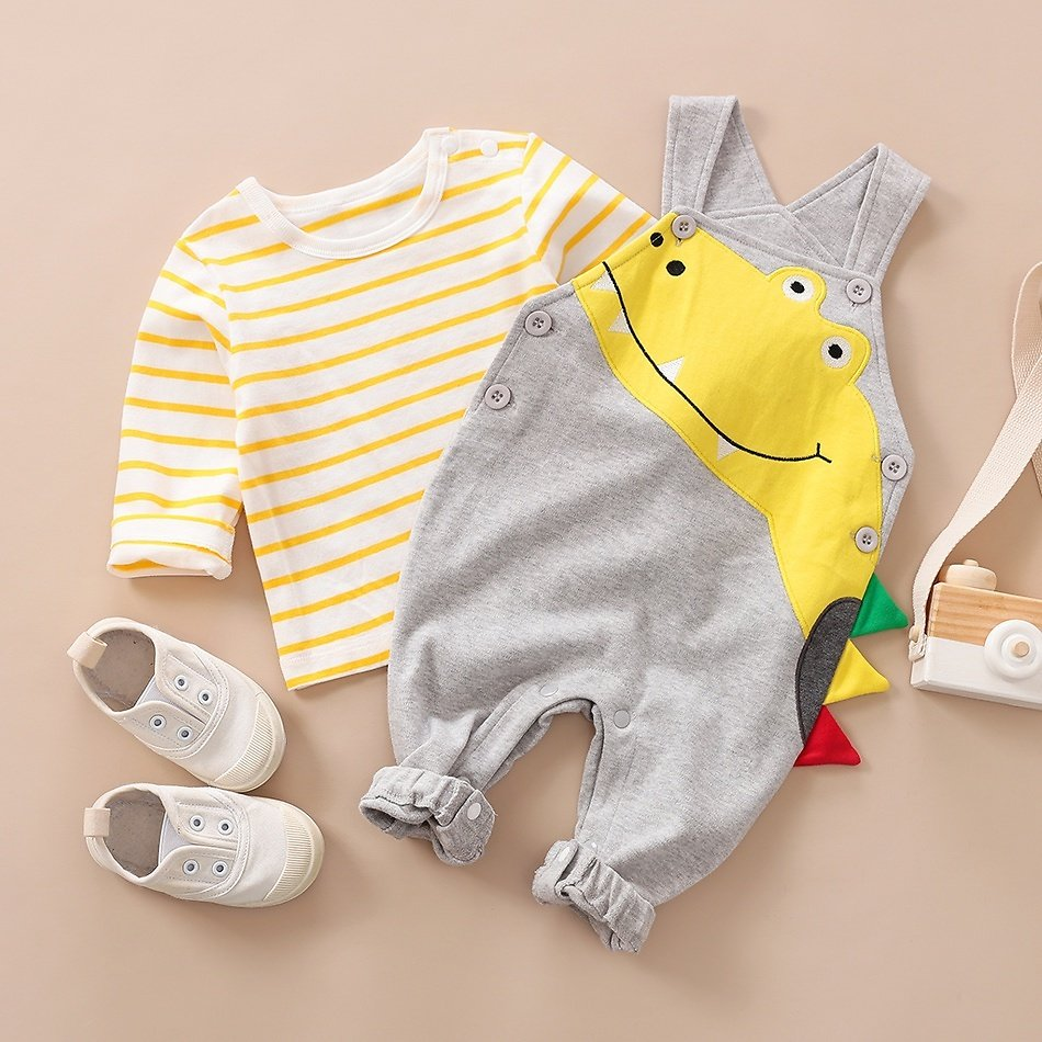 Baby Boy Striped Long-sleeve Tee and Dino Overalls Set
