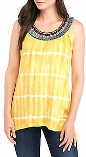 New Directions® Embellished Neck Sleeveless Tie Dye Top