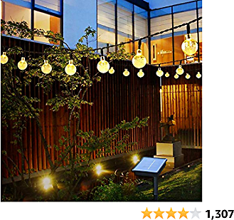 Outdoor Solar String Light Garland 50LED Fairy String Lights Bubble Crystal Ball Lights Decorative Lighting for Indo or Garden Home Patio Lawn Party Holiday Ooutdoor Decor(31FT) (Warm White)