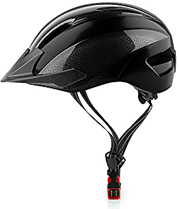 SUNRIMOON Skateboard Helmet for Men/Women - Adjustable Size with Detachable Visor, Charging LED Safety Light,Reflective Straps, Scooter/Roller Skate Helmet, CPSC Certified
