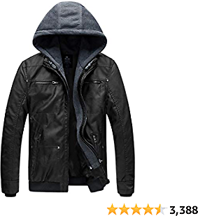 Wantdo Men's Faux Leather Jacket with Removable Hood Motorcycle Jacket Vintage Winter Coat, Windproof Leather Jacket