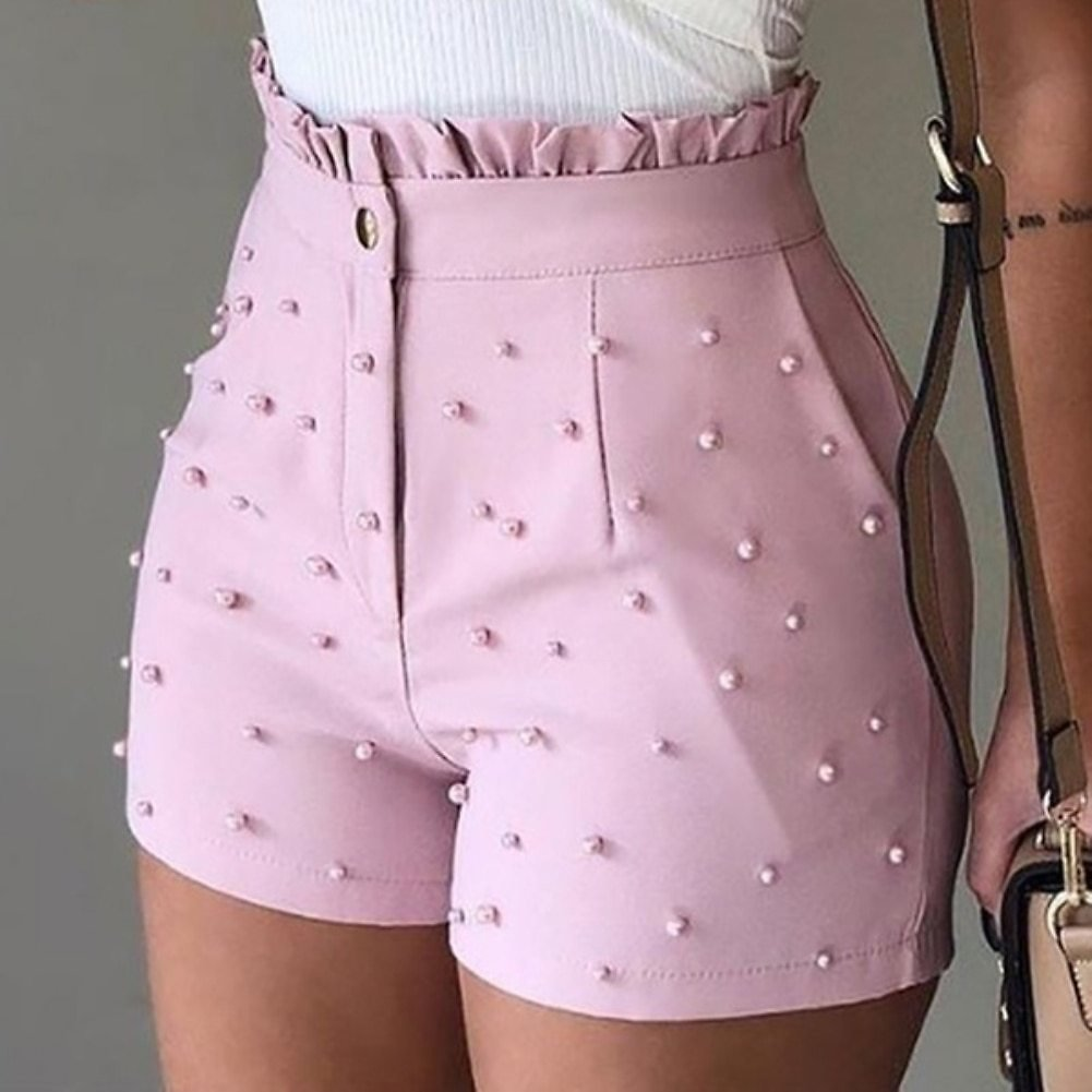 US $4.26 29% OFF|2020 New Fashion Solid Color High Waist Button Ruffled Beaded Summer Women Shorts Button Ruffled Beaded Summer Women Shorts|Shorts| - AliExpress