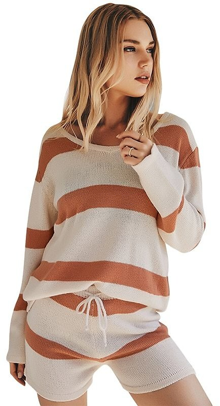 US $20.73 40% OFF|2020 Autumn Women's Knitted 2 Piece Set Striped Loose Casual Sweaters Long Sleeve O Neck Pullovers Slim Shorts with Drawtring|Women's Sets| - AliExpress