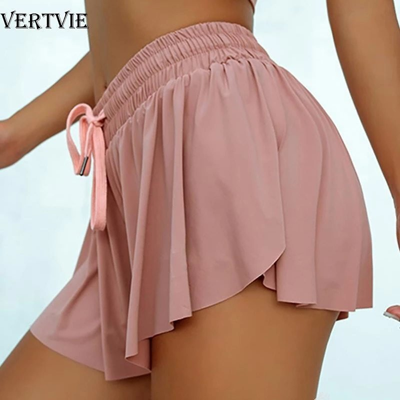 2020 Hot Sale Summer Anti Light Fake Two Piece Women Shorts Casual Sports Beach Mid Waist Solid Shorts Fashion Lace-up Ruffle