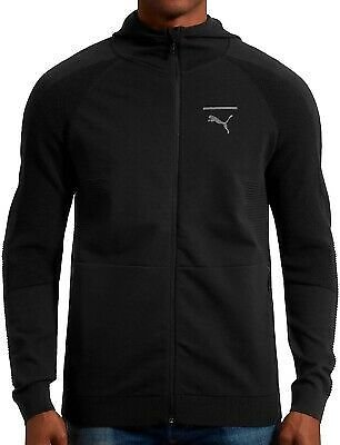 Puma Pace EvoKnit Move Mens Training Hoody Black Full Zip Gym Workout Hoodie