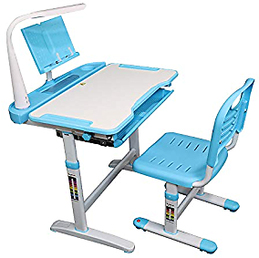 Allasfun Children Desk and Chair Set Height Height Adjustable Kids School Home Study Table (Blue)