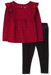 Toddler Girls Long Sleeve Buffalo Plaid Ruffle Top And Velour Leggings Outfit Set