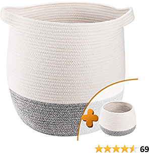 TerriTrophy 2pc Large Woven Storage Basket with Handles 17