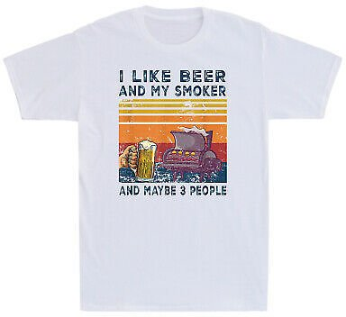 I Like Beer And My Smoker And Maybe 3 People Wine Vintage Men's T-Shirt Cotton