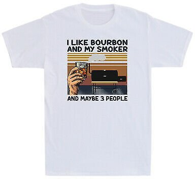 I Like Bourbon And My Smoker And Maybe 3 People Wine Funny Vintage Men's T Shirt