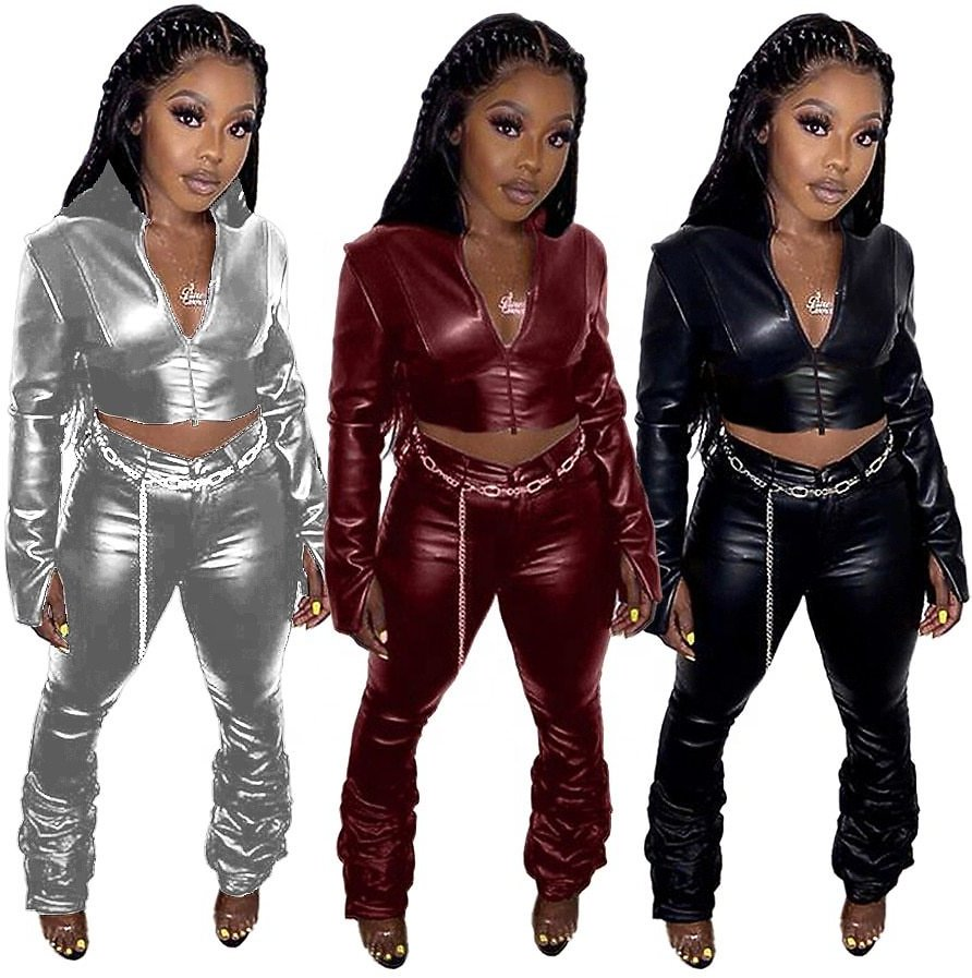 Plus Size Women 2 Piece Set Winter Sexy Fashion Clothes Joggers Tracksuits Girls' Women Leather Jackets Coats Stacked Pants Sets