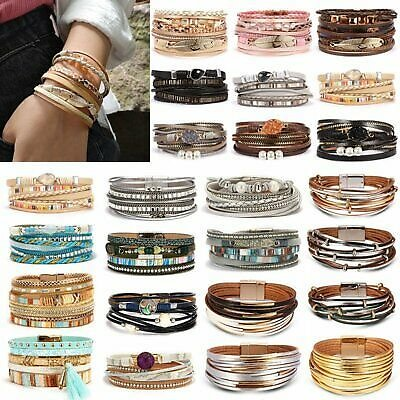 Women Multilayer Leather Bracelet Fashion Magnetic Clasp Bangle Wristband Cuff