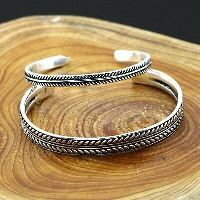 Fashion 925 Silver Retro Leaves Open Bracelet Bangle Cuff Women Men Jewelry Gift
