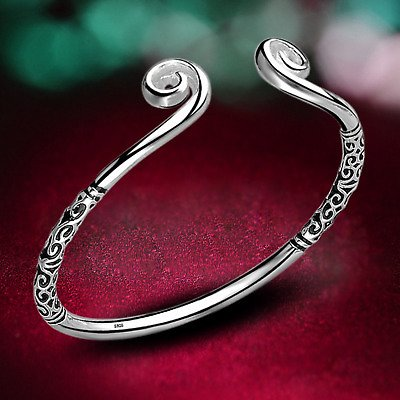 Women's 925 Sterling Silver Hoop Sculpture Cuff Bangle Bracelet Fashion Jewelry 8414756530421