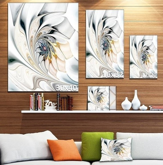 White Stained Glass Floral Wall Art Canvas
