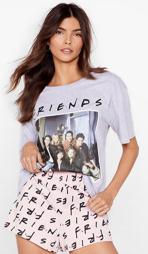 Friends Graphic Tee and Shorts Pajama Set   Nasty Gal