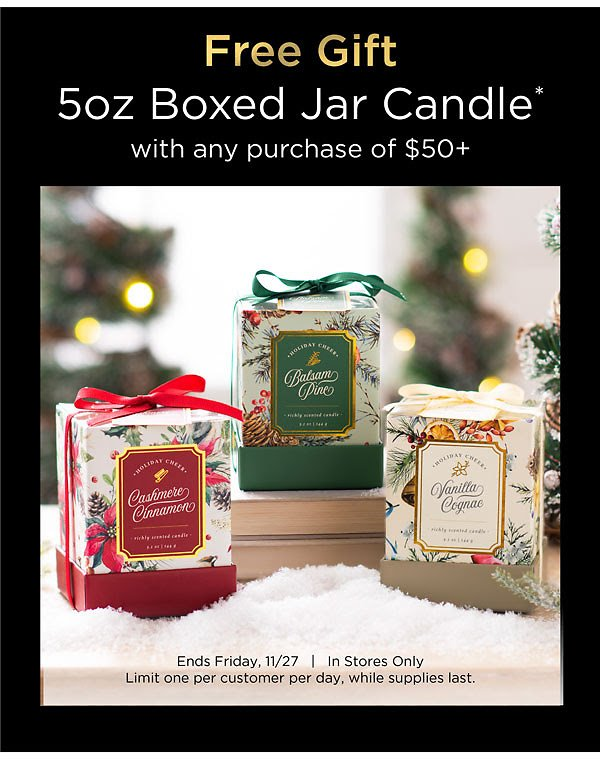 In-Store Only! Free 5oz Jar Candle ($9.99 Value) of $50 or More | Kirklands