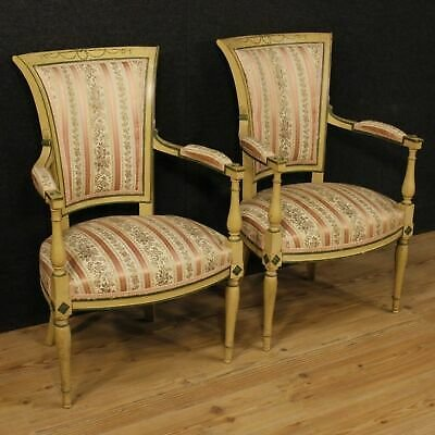 Pair Of Chairs,Chairs Lacquered Furniture Living Room French Wood Antique Style