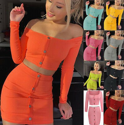 Women Sexy 2Piece Crop Top and Skirt Set Lace Up Party Clubwear Bodycon Dress