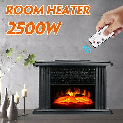 1000W Electric Fireplace Heater Wood Burner Fire Place Flame Effect Freestanding