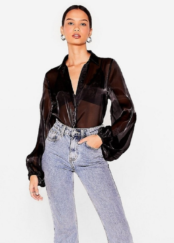 Sleeve It to 'Em High Shine Relaxed Blouse   Nasty Gal