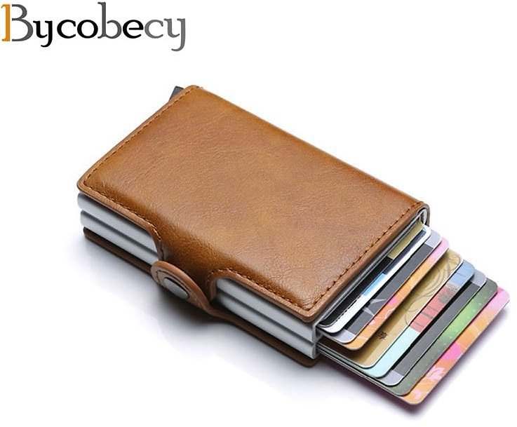 US $7.62 38% OFF|Bycobecy 2020 Card Holder Wallet RFID Blocking Double Metal Box Credit Card Aluminium Leather Business Card Case Wallet Purse|Card & ID Holders| - AliExpress