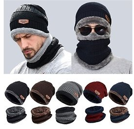 Windproof Scarf Wool Winter Beanie Hat Hooded Scarf Earflap Knit Cap