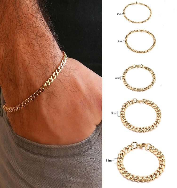 US $1.36 51% OFF|Men's Bracelet Curb Cuban Link Chain Stainless Steel Mens Womens Bracelets Bangle Gold Tone No Fade 3mm to 11mm|Chain & Link Bracelets| - AliExpress
