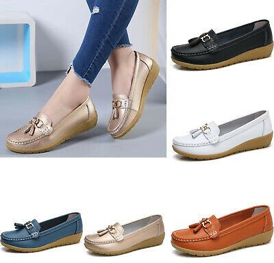 Womens Driving Loafers Moccasin Oxford Leather Casual Shoes Flat Lazy Peas Comfy