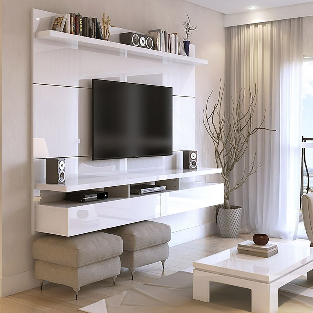 Manhattan Comfort City 62.99 Modern Floating Entertainment Center with Media Shelves in White Gloss