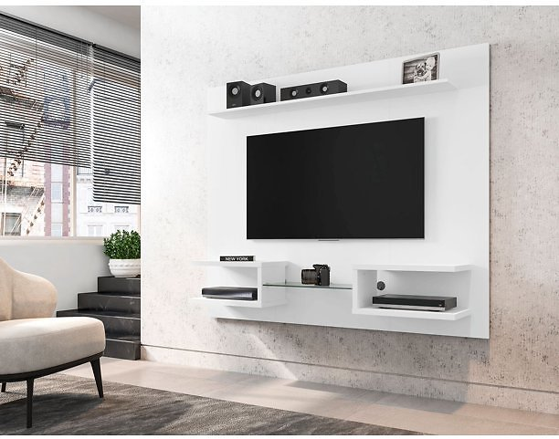 Manhattan Comfort Plaza 64.25 Modern Floating Wall Entertainment Center with Display Shelves in White
