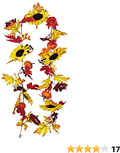Fall Maple Leaf Garland with Sunflower Pumpkin Berries Harvest Garland Artificial Autumn Foliage Ivy Faux Fall Leaves Hanging Vines for Indoor Outdoor Thanksgiving Dinner Party Fireplace Decor, 5.9Ft