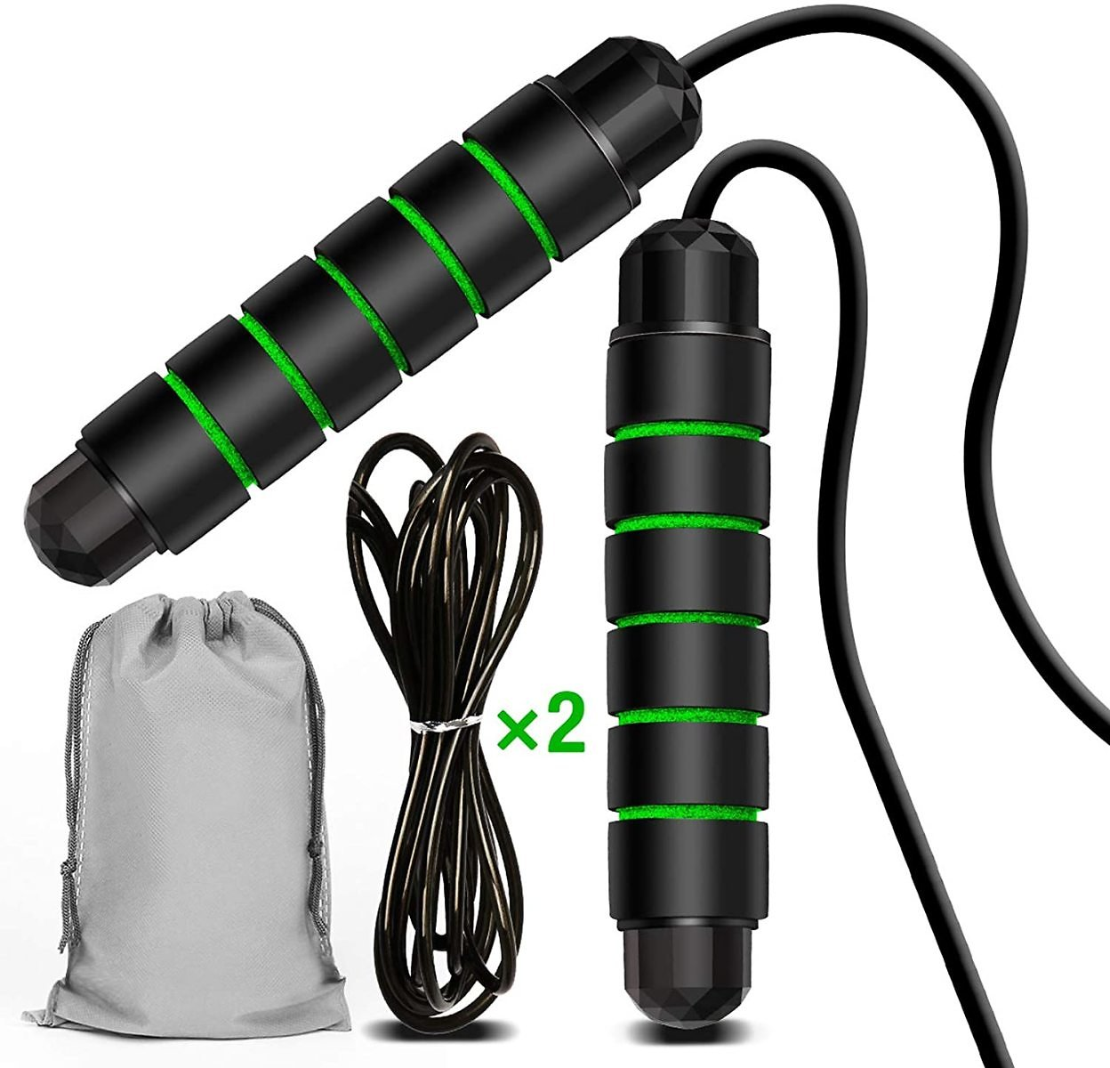 Skipping Rope Jumping Rope for Fitness Indoor Sports Exercise Tangle-Free Adjustable Jump Ropes with Memory Foam for Men, Women and Kids 1 Set &1 Rope Strap