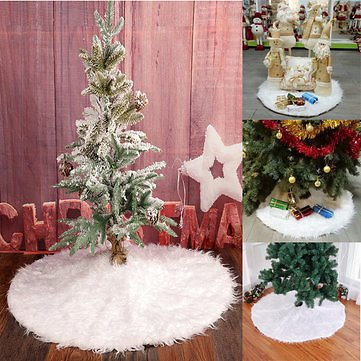 90cm Snow Plush Christmas Tree Skirt Base Floor Mat Cover Christmas Party Decorations Festival Gifts & Party Supplies from Home and Garden on Banggood.com
