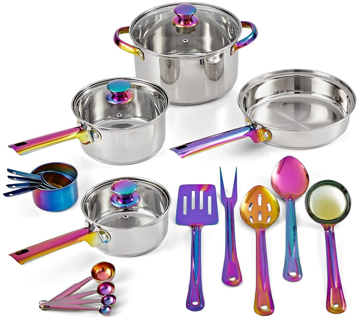 20-Piece Iridescent Stainless Steel Cookware Set, with Kitchen Utensils and Tools