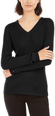 Tommy Hilfiger Ivy Cable V-Neck Sweater, Created for Macy's & Reviews - Sweaters - Women