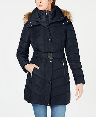 Tommy Hilfiger Belted Faux-Fur-Trim Hooded Puffer Coat, Created for Macy's & Reviews - Coats - Women