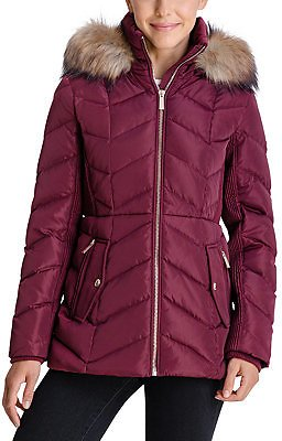 Michael Kors Faux-Fur-Trim Hooded Down Puffer Coat, Created for Macy's & Reviews - Coats - Women